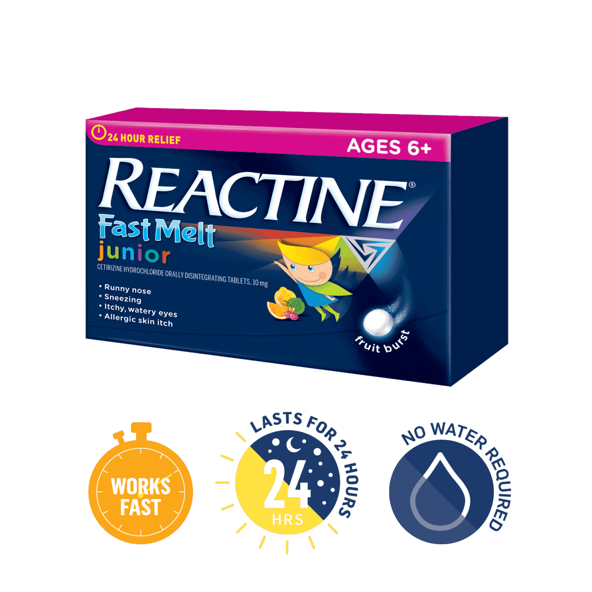 Reactine Extra Strength Rapid Dissolve dissolves in seconds, lasts 24 hours