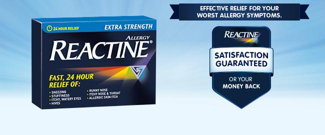 Reactine satisfaction guaranteed or your money back