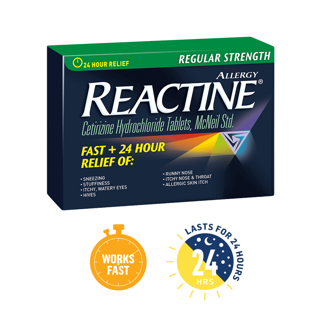 Reactine Regular Strength , 36 tablet packages